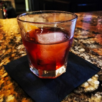 This is a Negroni, expertly prepared by our friend and favorite mixologist, Christopher, at The Local Table in Newbury Park, California.