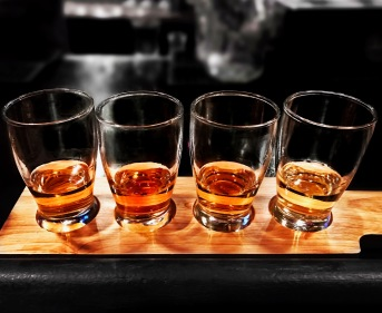 "A whiskey flight, or 🥃✈️ if you will, at The Six Calabasas. Maker's 46 Bourbon, Jameson Gold Reserve Irish Whiskey, Templeton Rye, and Booker's Bourbon. Now that's what we call ""friendly skies."""