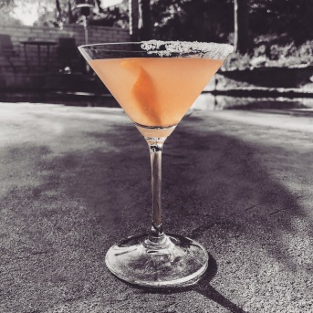 Simple and refreshing, The Grapefruit Martini. 2 oz. Belvedere Vodka, 1 oz. Bols Triple Sec 1 oz. fresh pink grapefruit juice 0.5 oz. fresh lemon juice Sugared half rim and a grapefruit peel and voilà! Cheers!